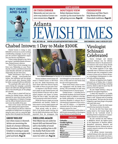 Atlanta Jewish Times, Vol  XCI No  48, December 9, 2016 by Atlanta