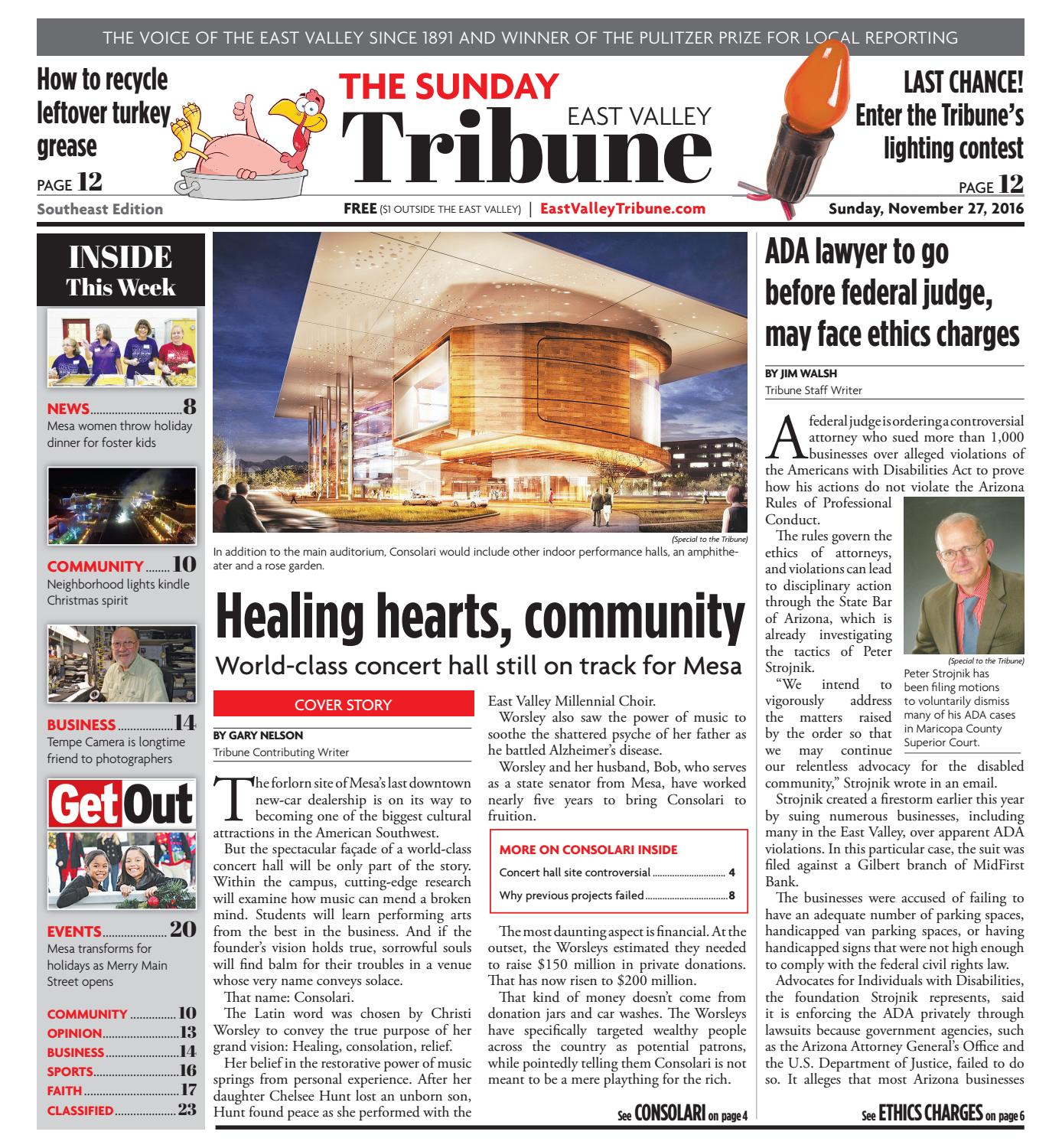 East Valley Tribune: Southeast Edition - Nov  27, 2016 by
