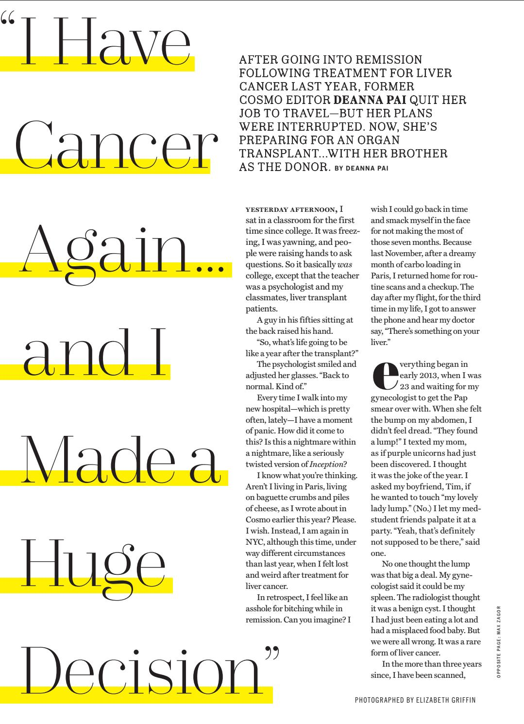 Cosmo Cancer Essay 4 0816 By Dcp522 Issuu