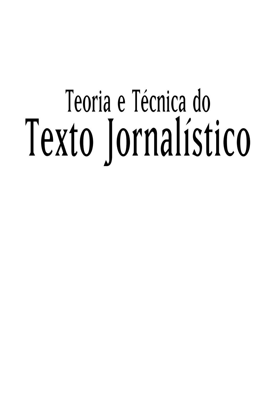 Teoria E Tecnica Do Texto Jornalistico Nilson Lage By Adriel
