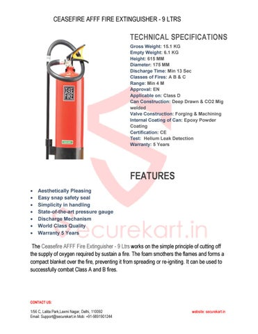 Features of Ceasefire Fire Extinguisher AFFF Foam-9 Itr by ...