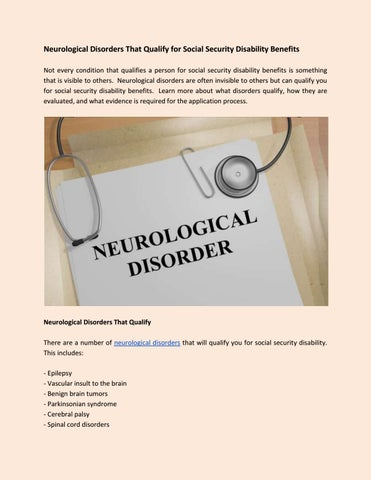 Neurological disorders that qualify for social security