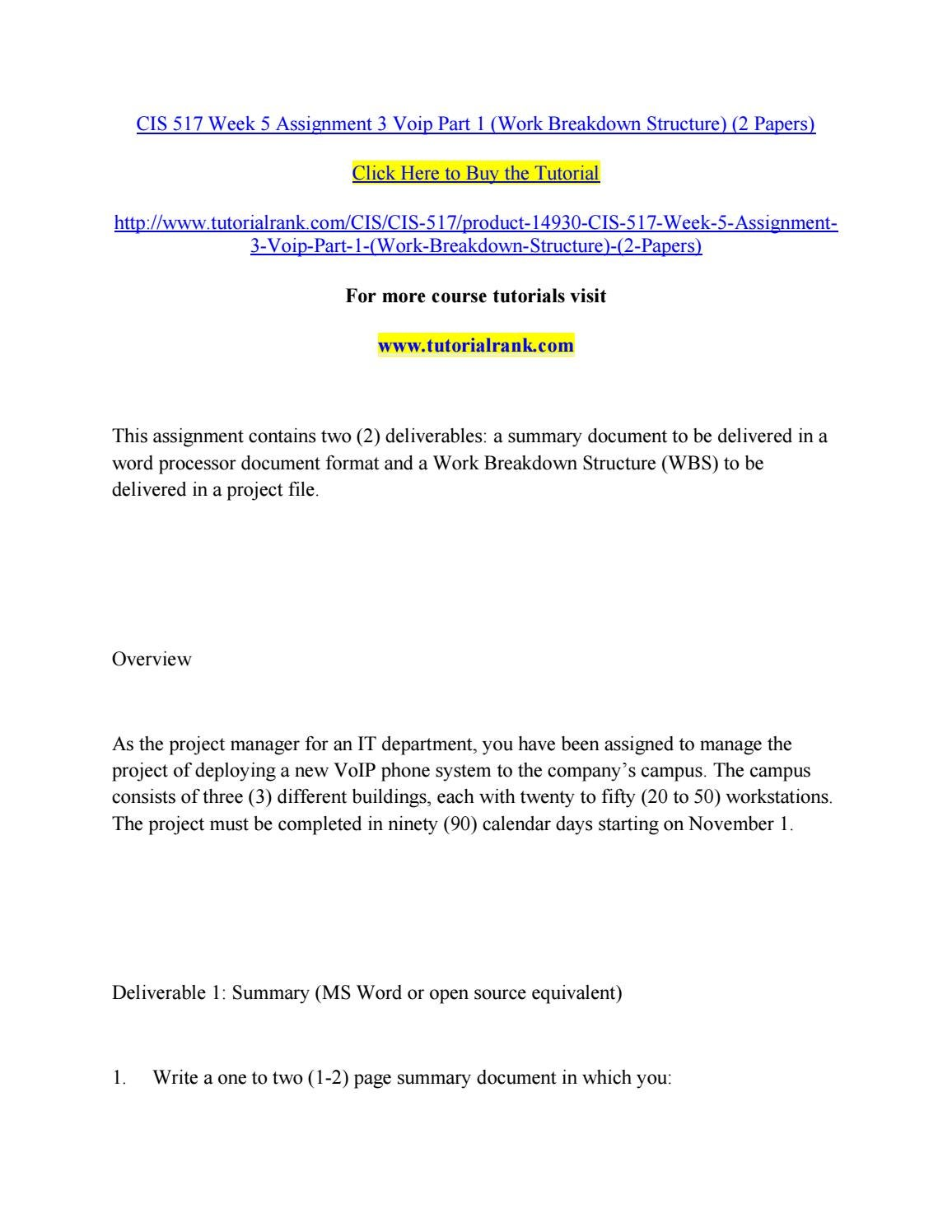 Cis 517 Week 5 Assignment 3 Voip Part 1 Work Breakdown Structure An Overview 2 Papers By Jabbaree32 Issuu