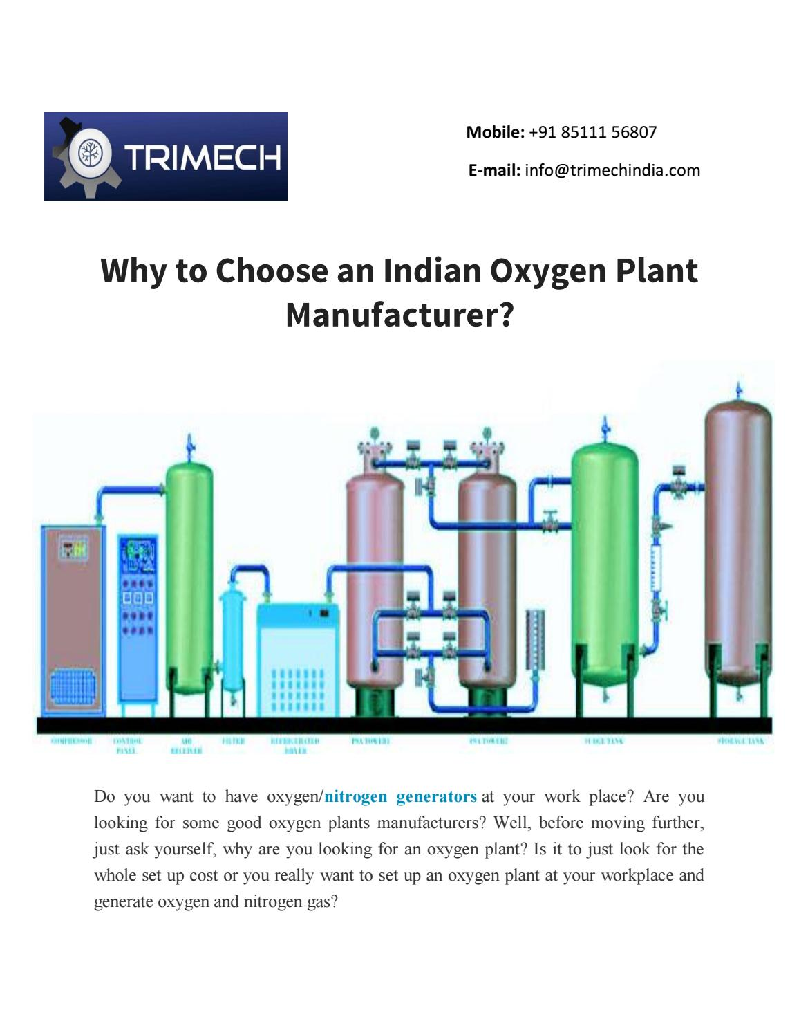 Why to choose an indian oxygen plant manufacturer by for Oxygen plant