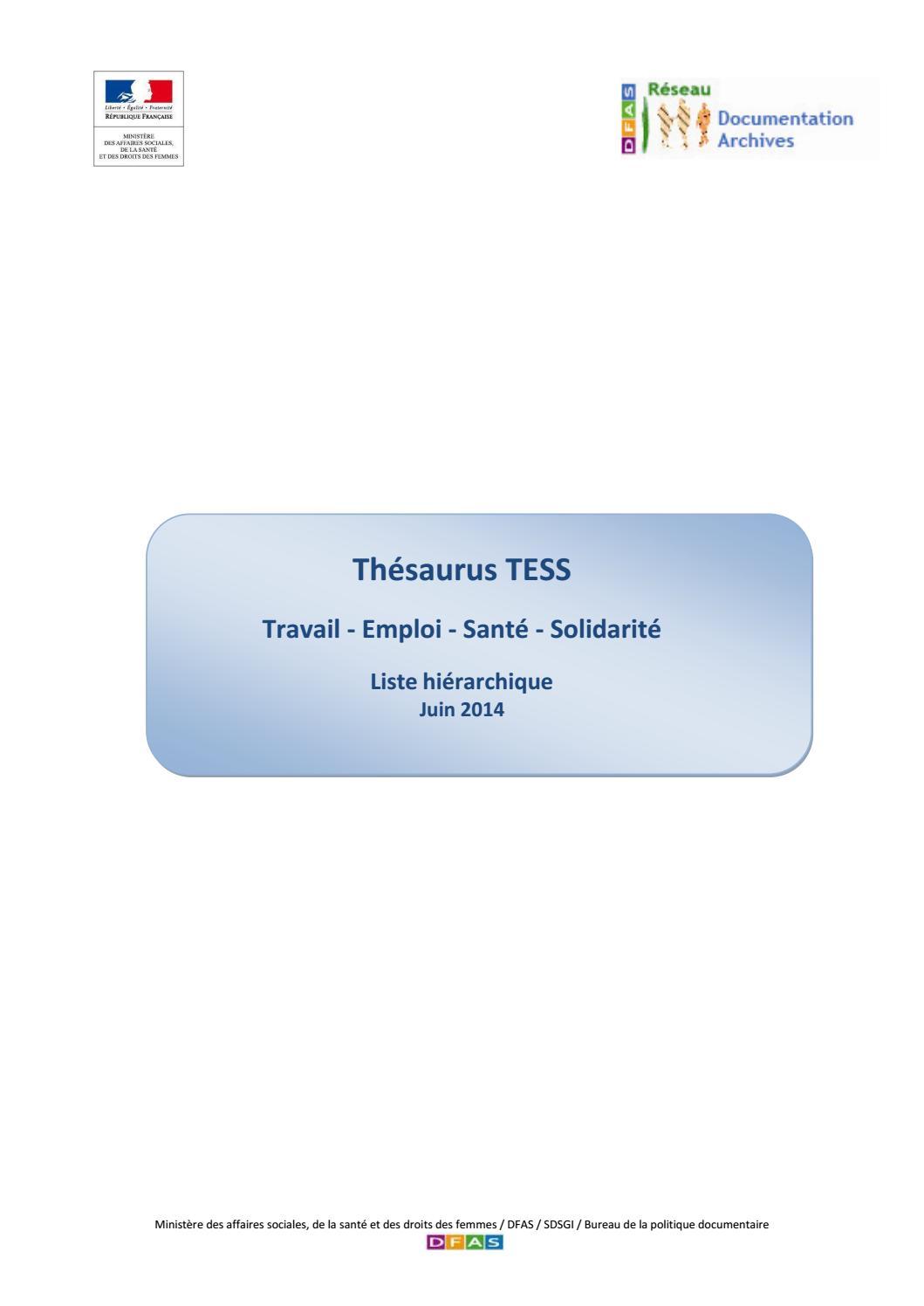 Thésaurus TESS liste hierarchique by Ministères sociaux - issuu 8ef5fee819b8