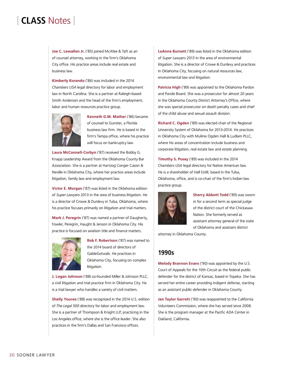Sooner Lawyer: Fall 2014 by University of Oklahoma College of Law