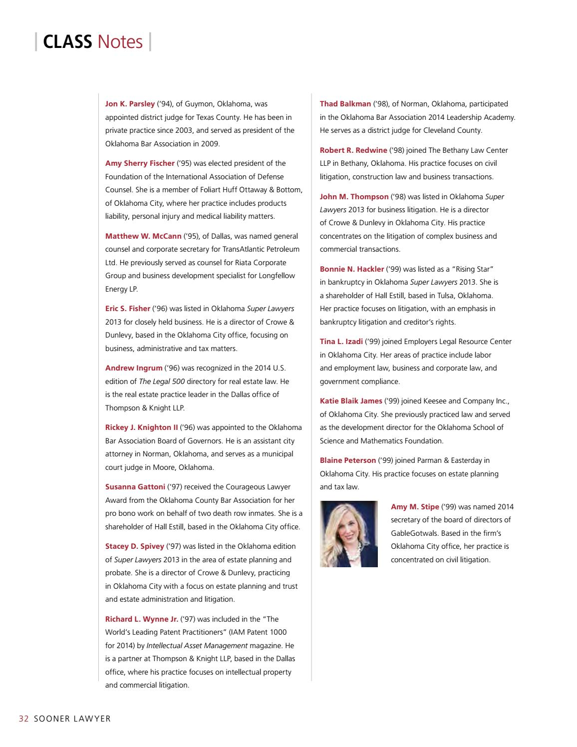 Sooner Lawyer: Fall 2014 by University of Oklahoma College
