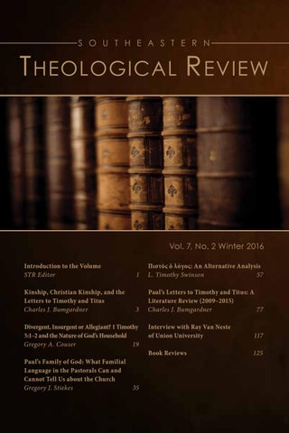 Southeastern Theological Review 72 By Southeastern Baptist