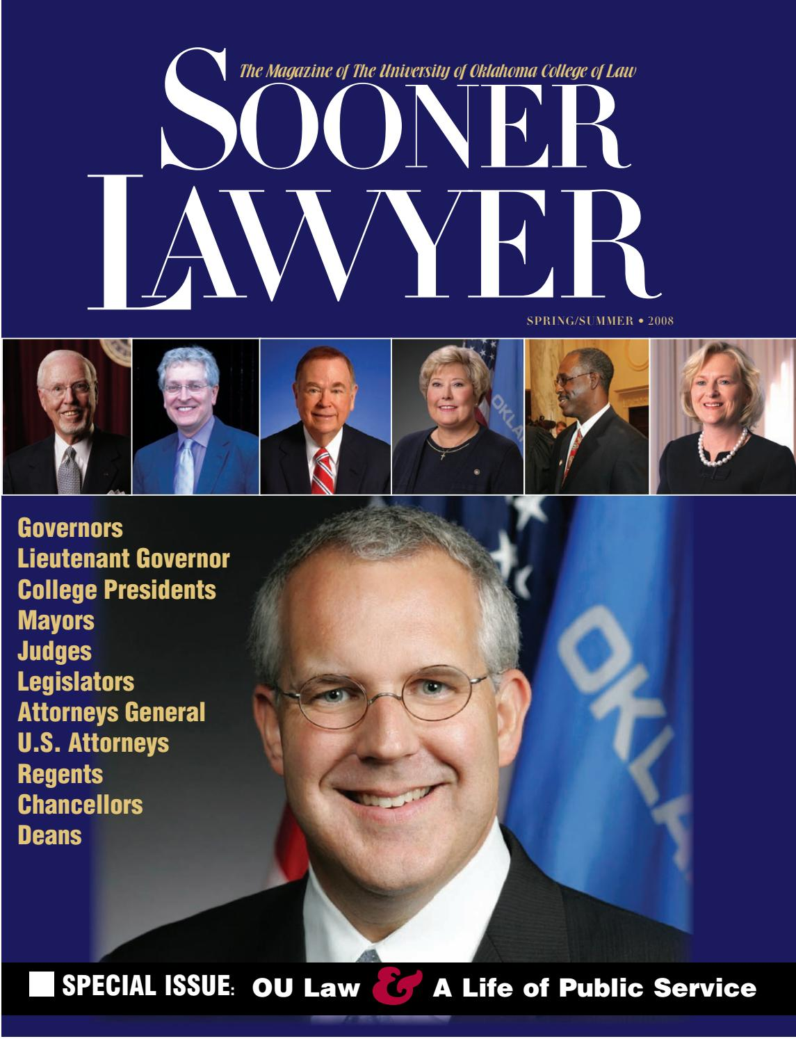 Sooner Lawyer Spring Summer 2008 by University of Oklahoma College