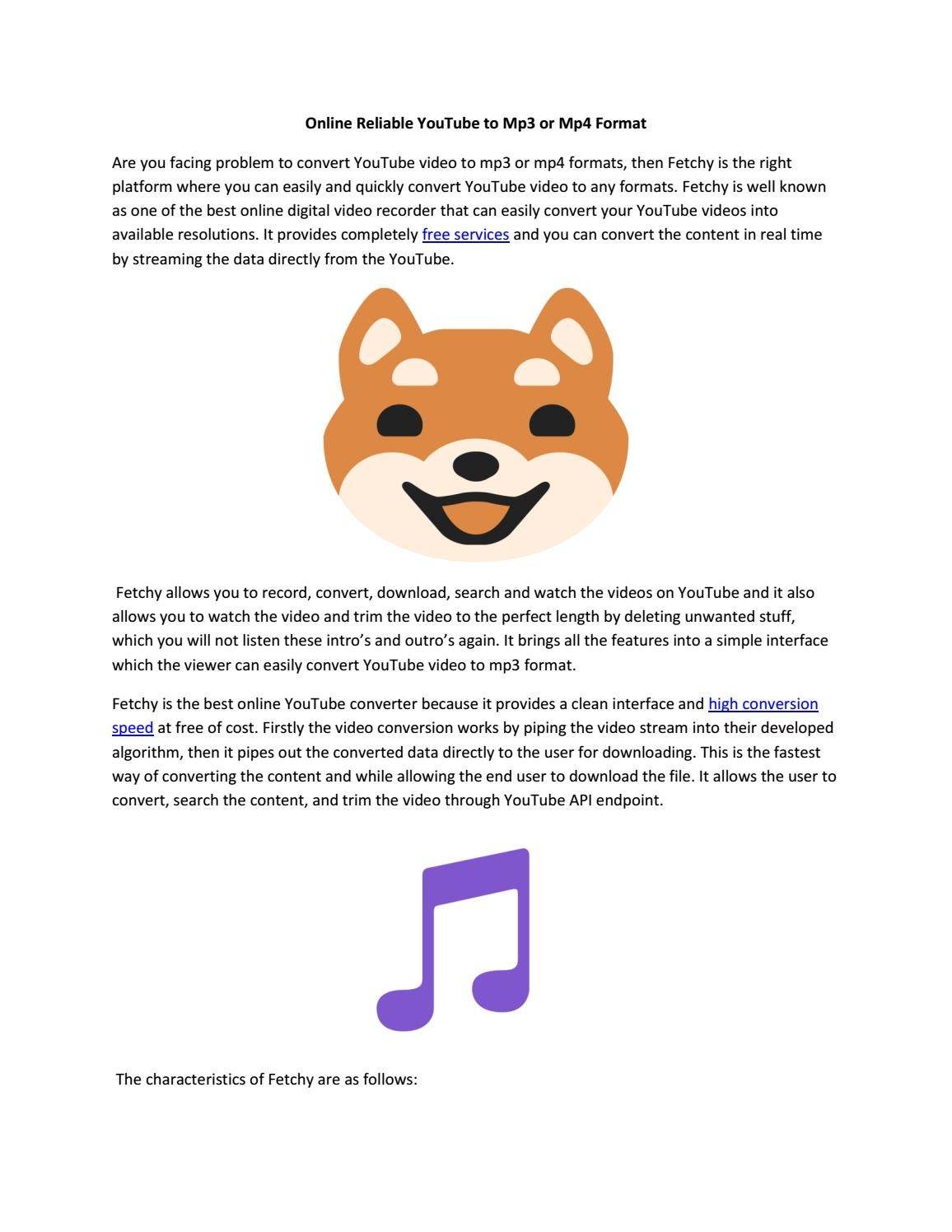Online Reliable YouTube to Mp3 or Mp4 Format by Fetchy - issuu