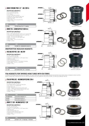 "steerer Headset FSA Orbit Z 1.5R Reducer ID:50mm Headtube to 28.6mm 1-1//8/"""