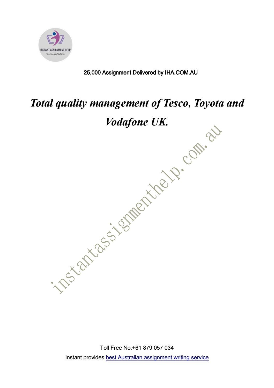 quality management of tesco toyota and vodafone by instant  quality management of tesco toyota and vodafone by instant assignment help issuu