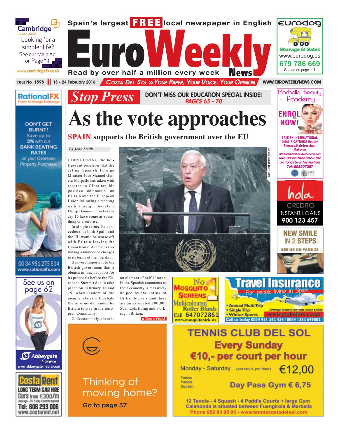 Euro Weekly News Costa Del Sol 18 24 February 2016 Issue 1598  # Muebles Jenny Montano