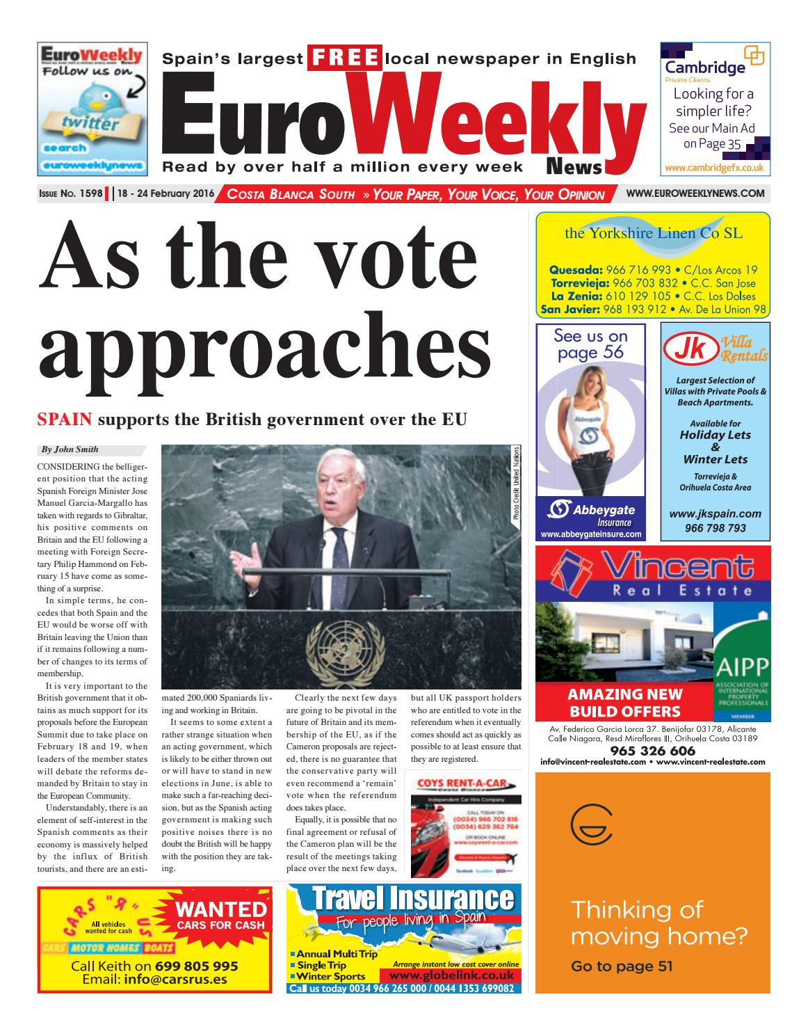 Euro Weekly News Costa Blanca South 18 24 February 2016 Issue  # Muebles Jaime Ibanez