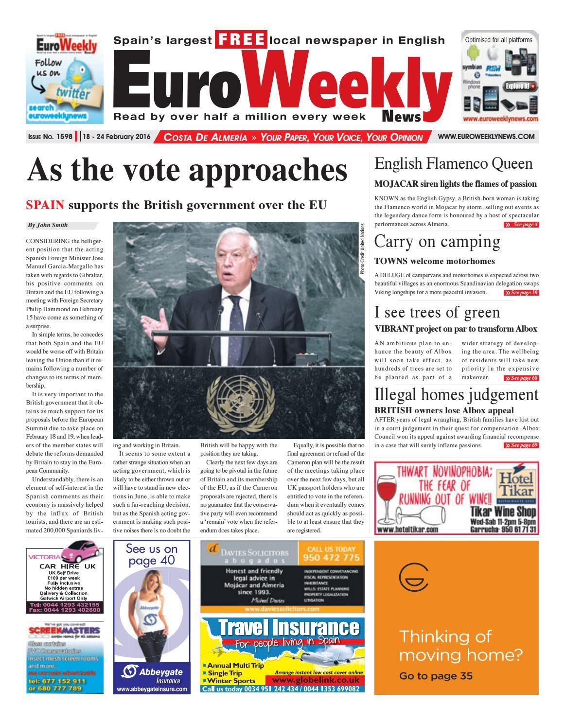 Euro Weekly News Costa De Almeria 18 24 February 2016 Issue  # Muebles Rafaela San Clemente