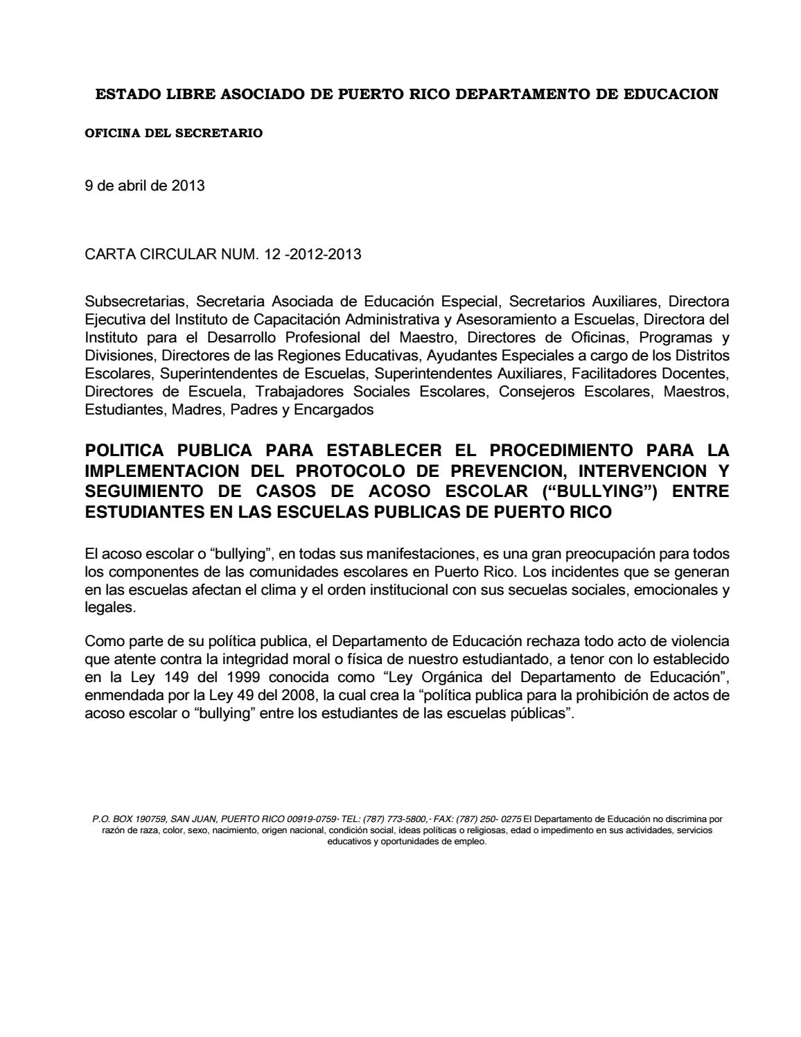 Carta circular 12 2012 2013 by instituto del g nero y for Oficina del estudiante unirioja