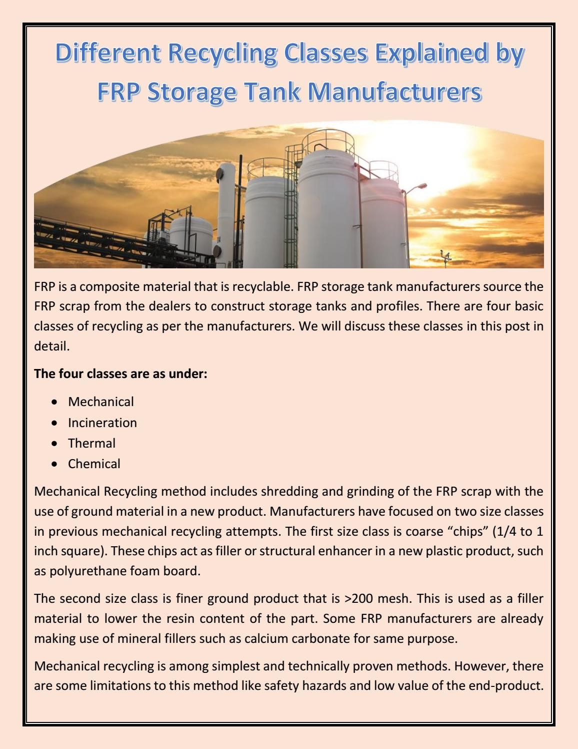 Different Recycling Classes Explained by FRP Storage Tank