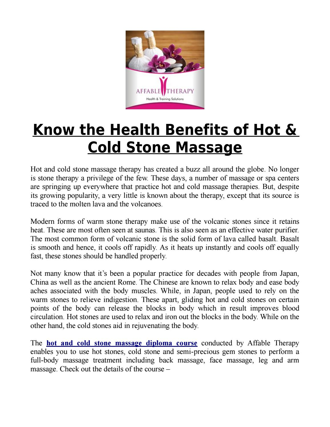 Know the Health Benefits of Hot & Cold Stone Massage by Affable ...