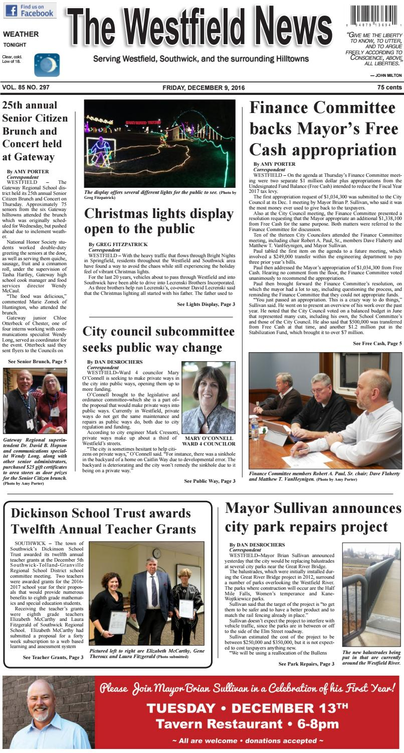 Friday, December 9, 2016 by The Westfield News - issuu