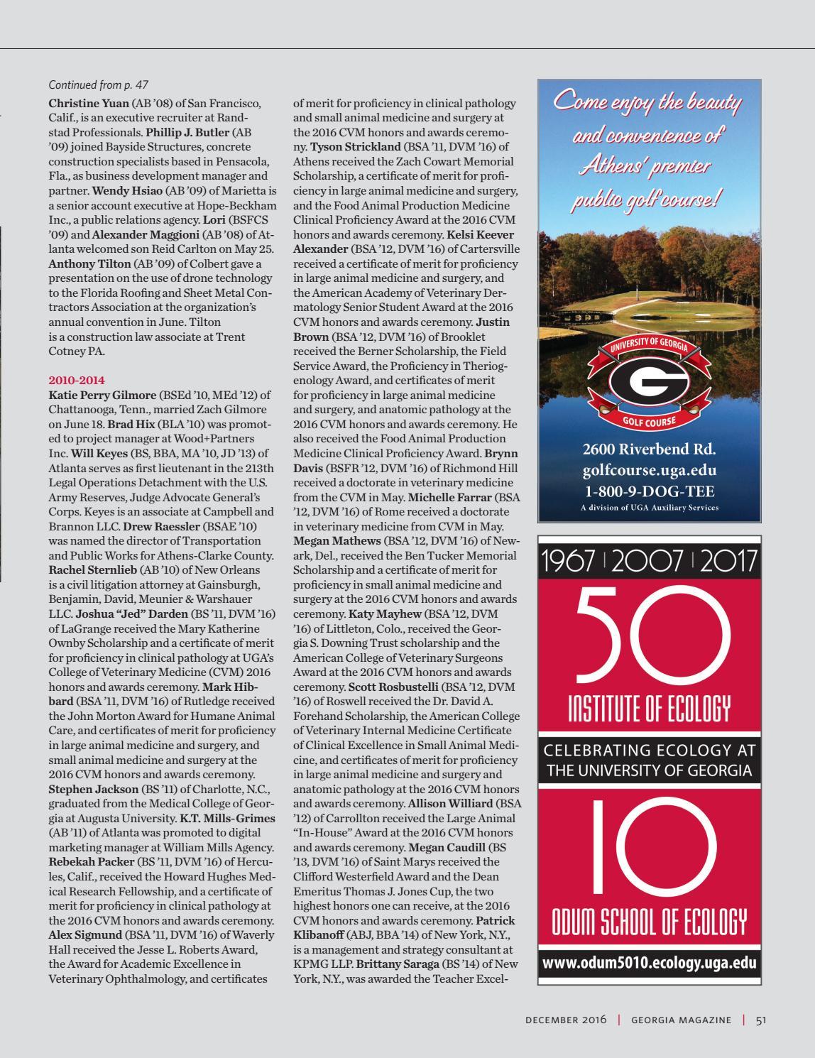 University Of Georgia Magazine December 2016 By University
