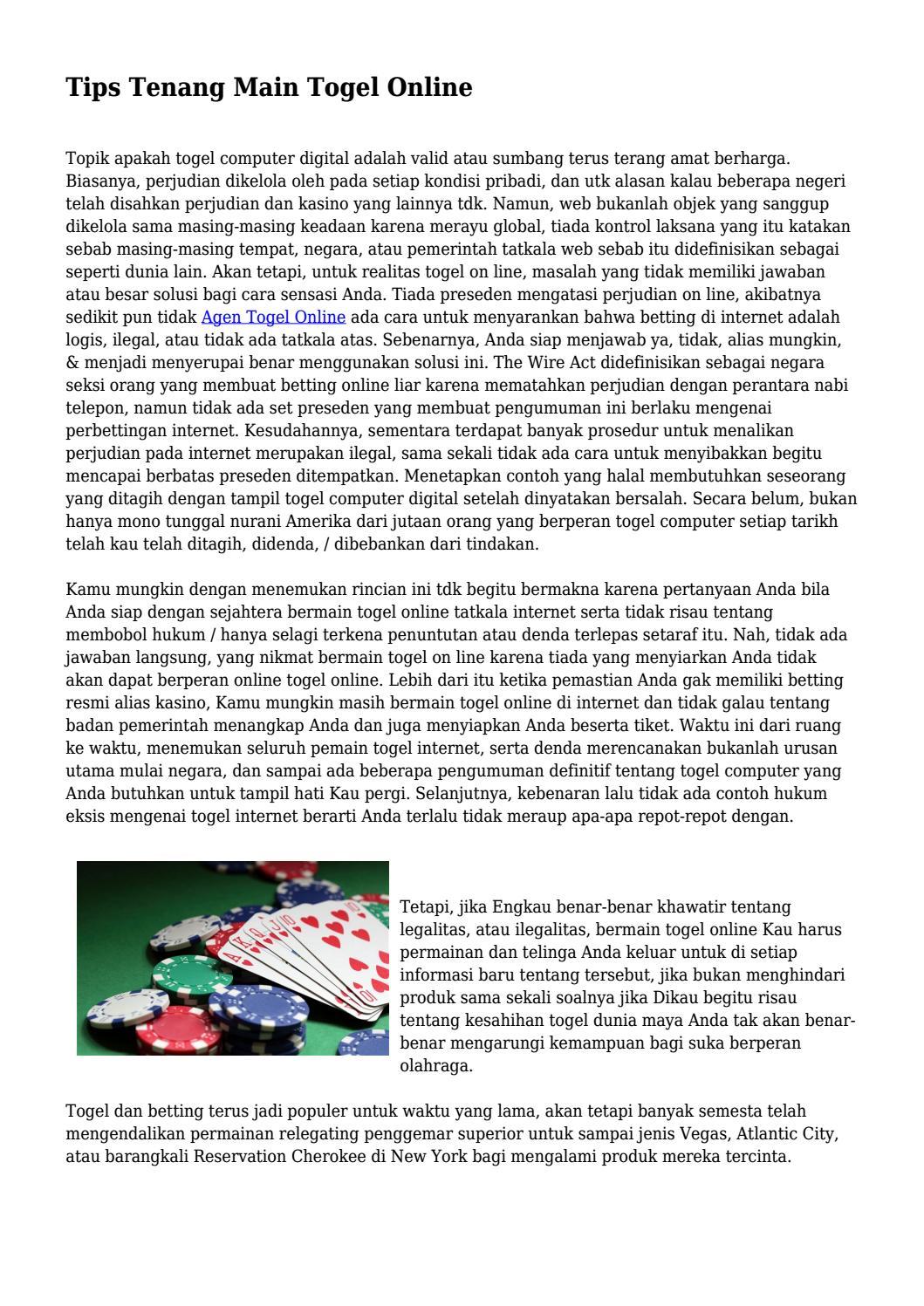 Tips Tenang Main Togel Online... by pininfofan - Issuu