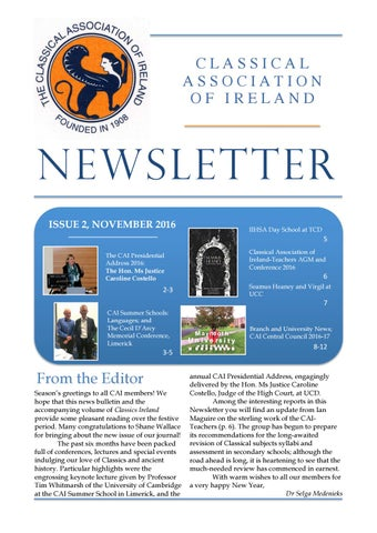 "Cover of ""Classical Association of Ireland Newsletter November 2016"""