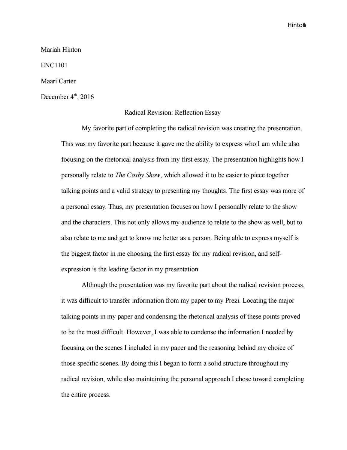 radical revision reflection essay by mariah hinton essay issuu
