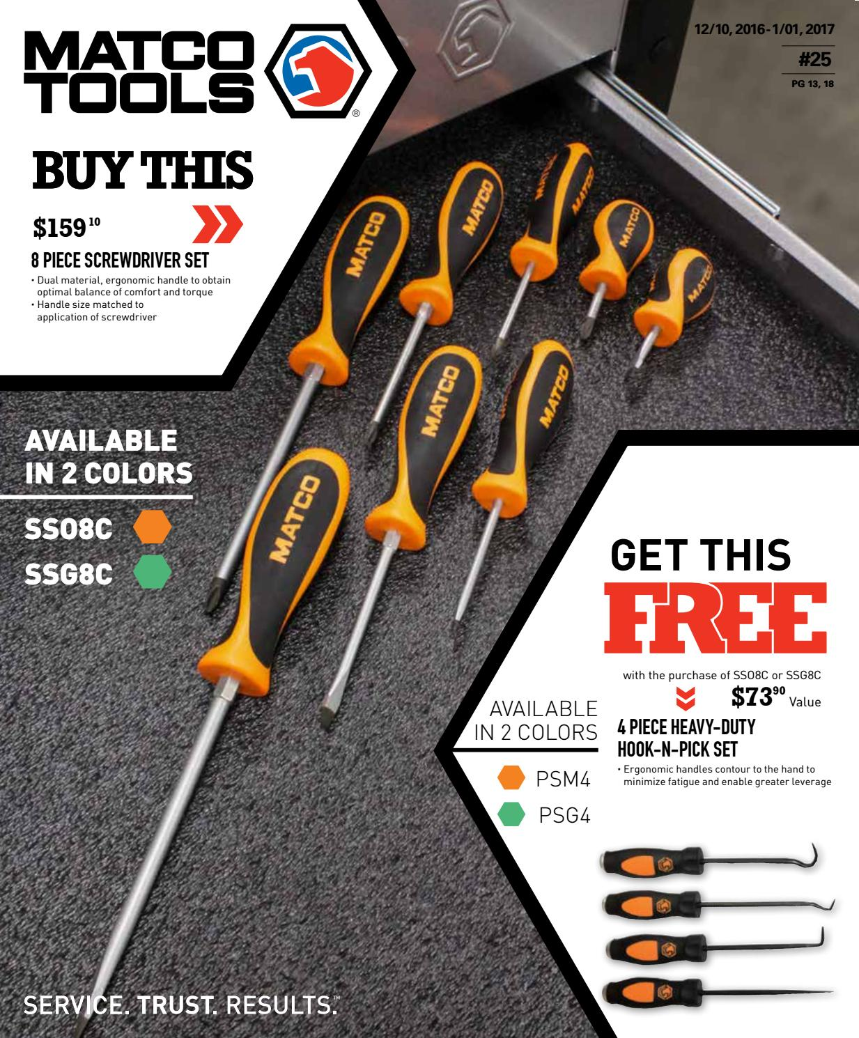 Brand New SSO8C Matco Tools 8 Piece Screwdriver Set-Orange