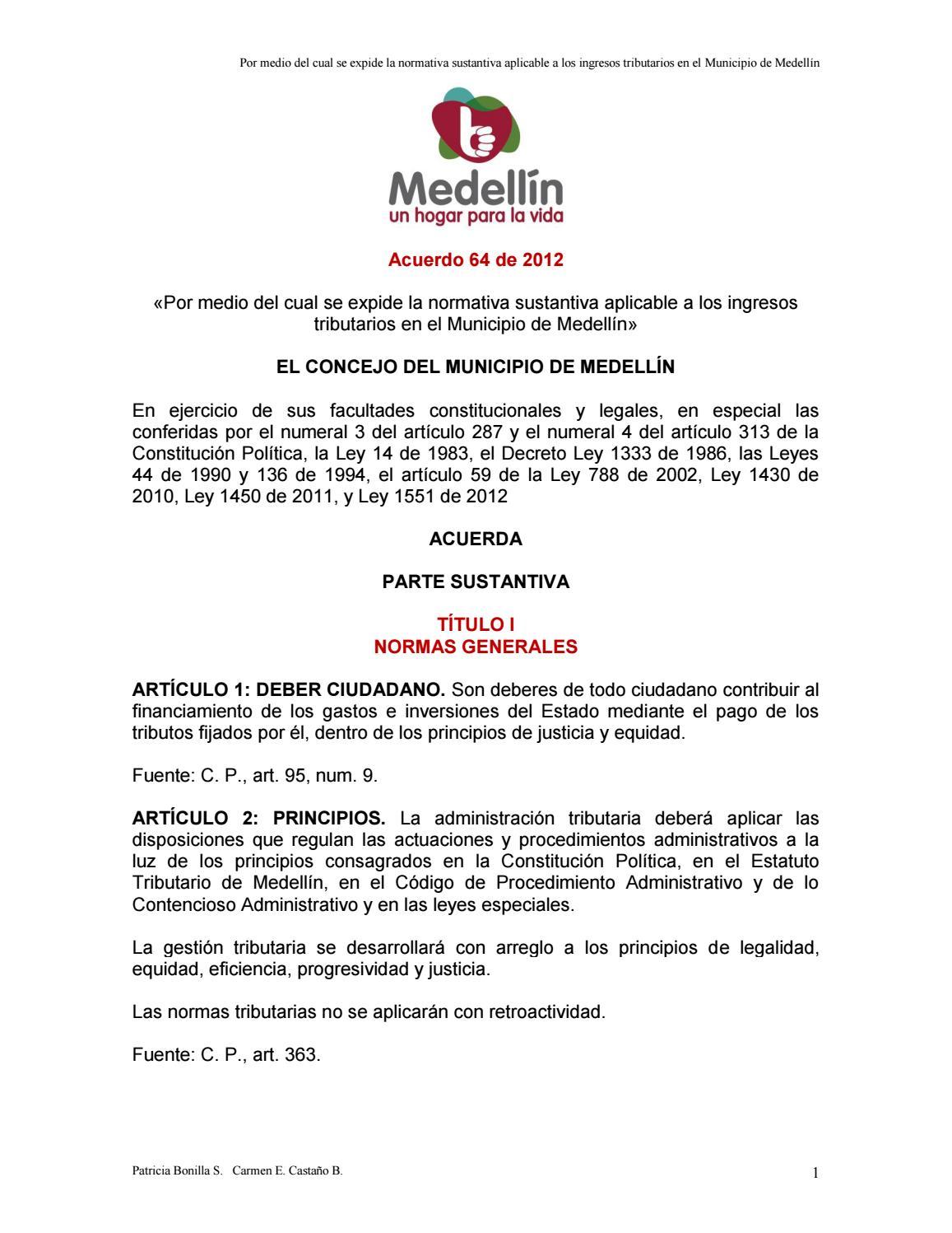 b69fe7663ad6 Acuerdo 64 de 2012 estatuto tributario aprobado por el concejo de medellín  by LUZ HELENA NARANJO OCAMPO - issuu