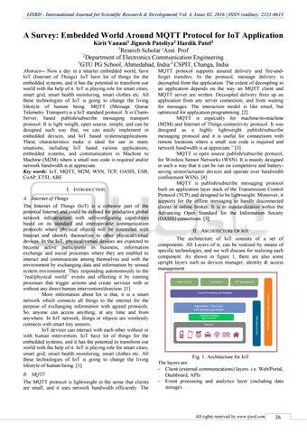 A Survey: Embedded World Around MQTT Protocol For IoT