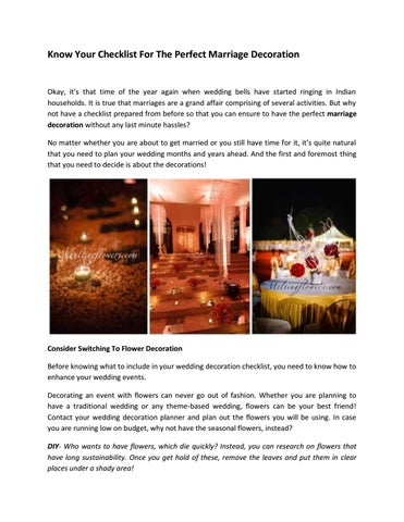 Know your checklist for the perfect marriage decoration by syed atif page 1 know your checklist for the perfect marriage decoration junglespirit Image collections