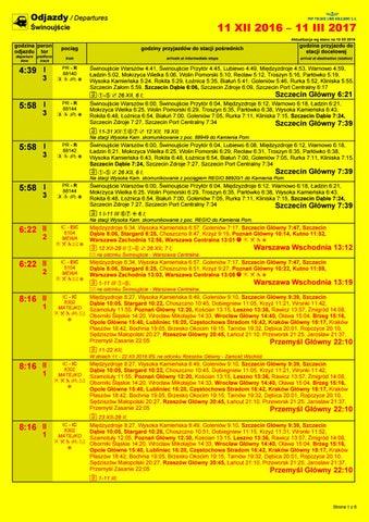 Plakat 2017 Swinoujscie Odjazdy Wazny Od 2016 12 11 Do 2017