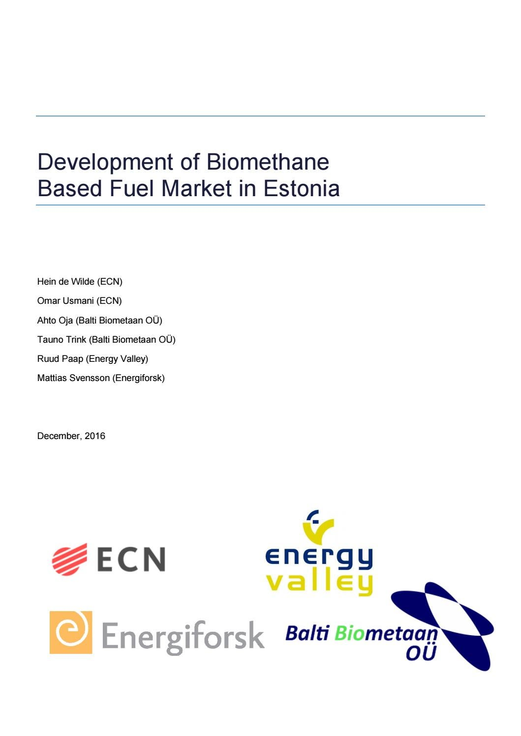 Final report biomethane market estonia 161207 by Elering - issuu