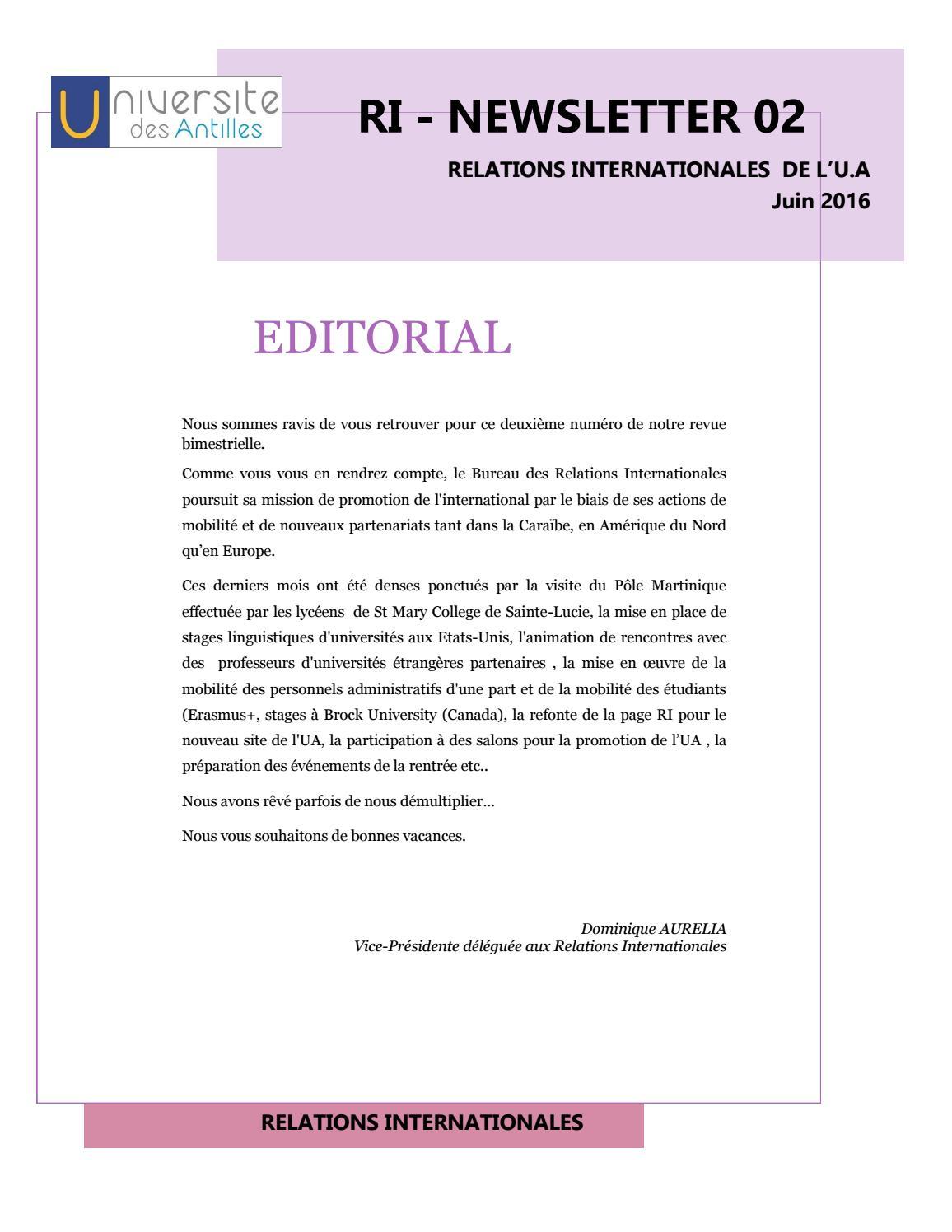 Newsletter du mois de juin 2016 du bureau des relations internationales by universit des - Bureau des relations internationales ...
