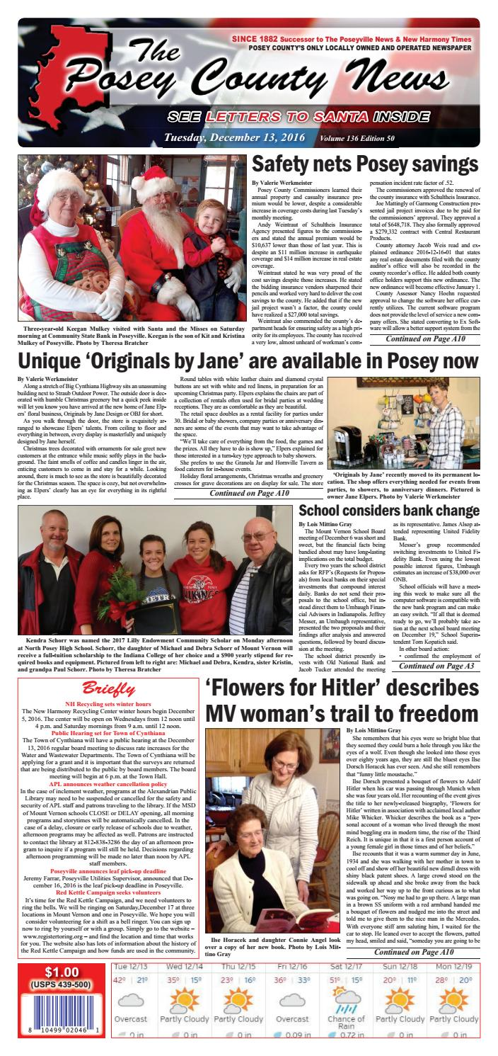 December 13 2016 the posey county news by the posey county news issuu