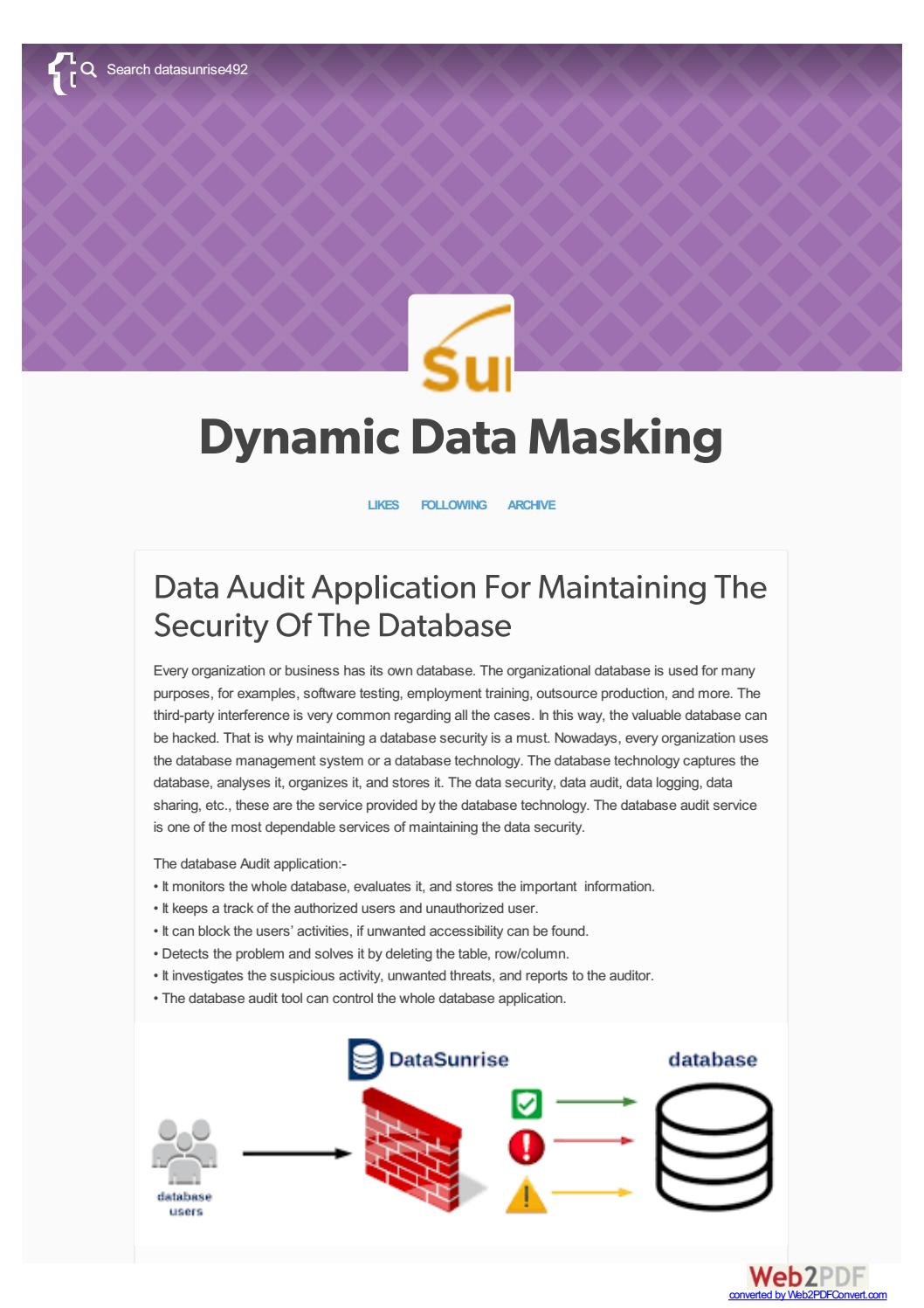 Data Audit Application For Maintaining The Security Of Database And By Datasunrise Issuu