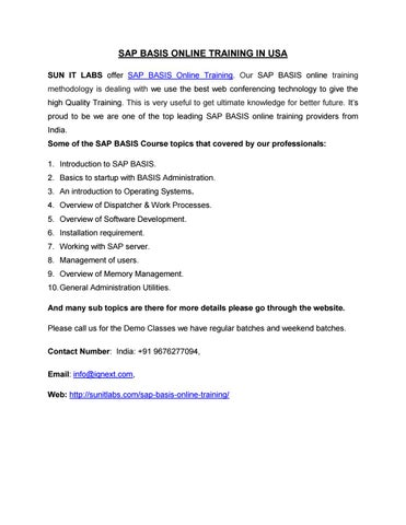 Sap basis online training in usa by sravs123 - issuu