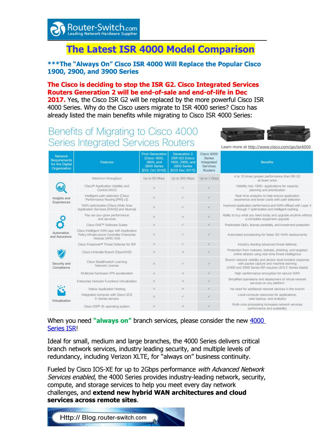 The latest isr 4000 model comparison by Router Switch - issuu