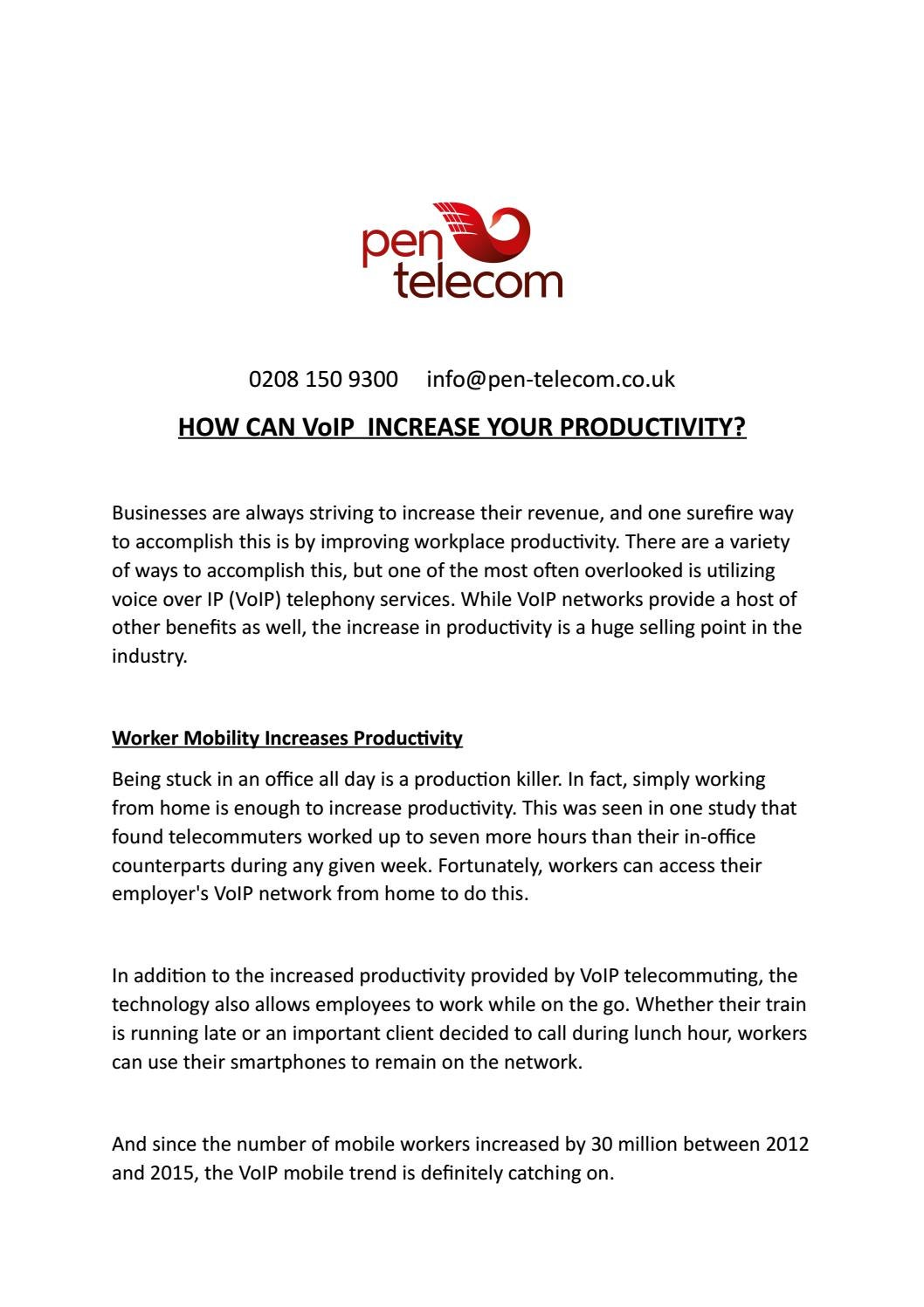 How can VoIP help productivity? by Jon Pentel - issuu