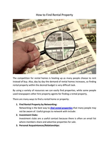 Page 1. How To Find Rental Property