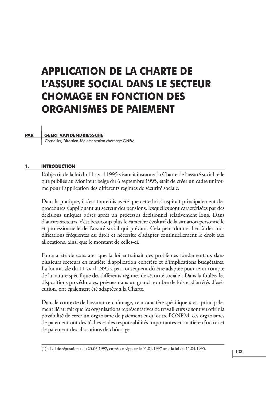 6ed1da64539 Application de la charte de l assuré social dans le secteur chômage en  fonction organismes