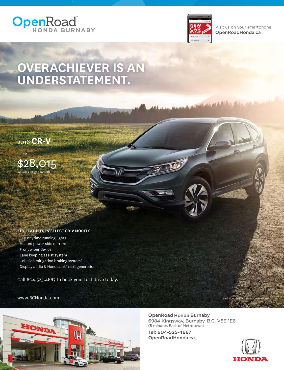 Open Road Honda Burnaby >> Just For Canadian Doctors Winter 2017 By Just For Canadian Doctors