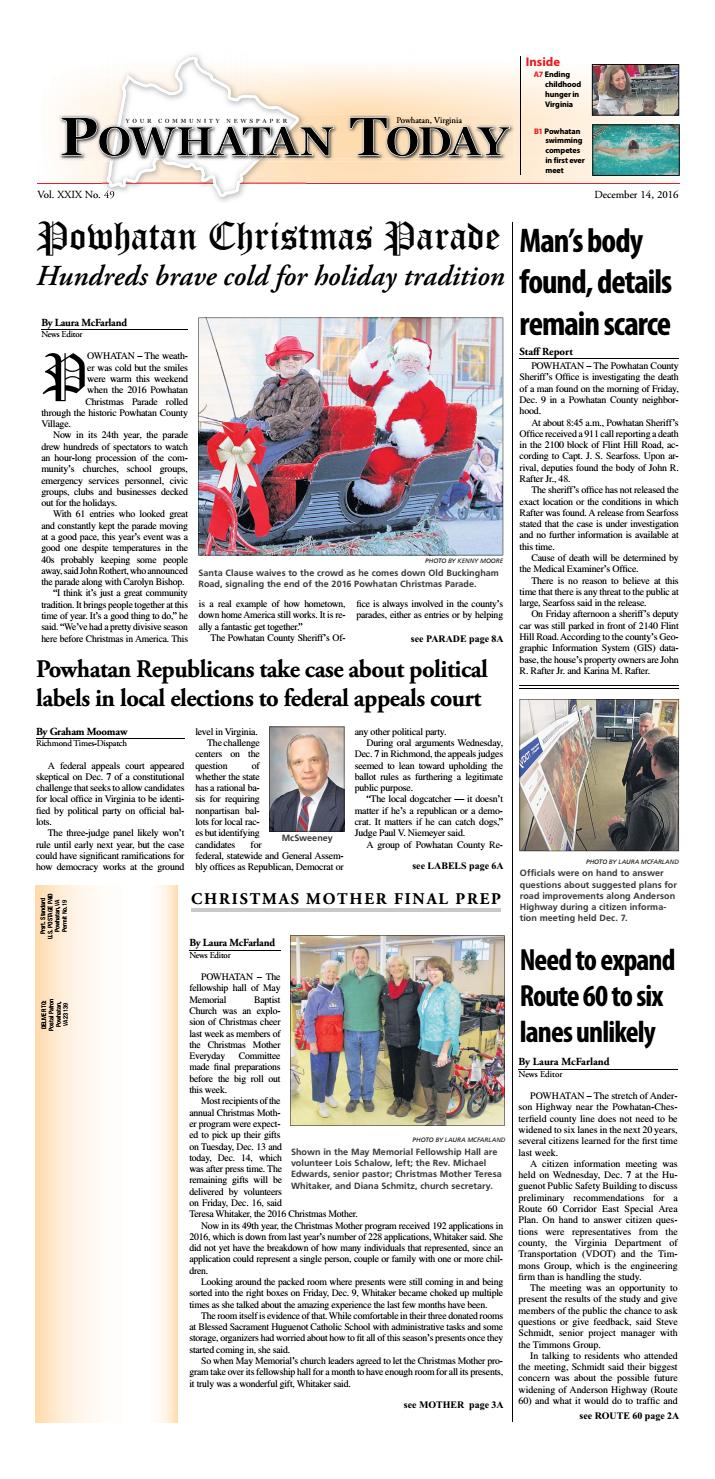 powhatan single guys Page 2a powhatan today, november 26, 2014 homes continued from page 1a bring back the idea that we are a giving community and this is.