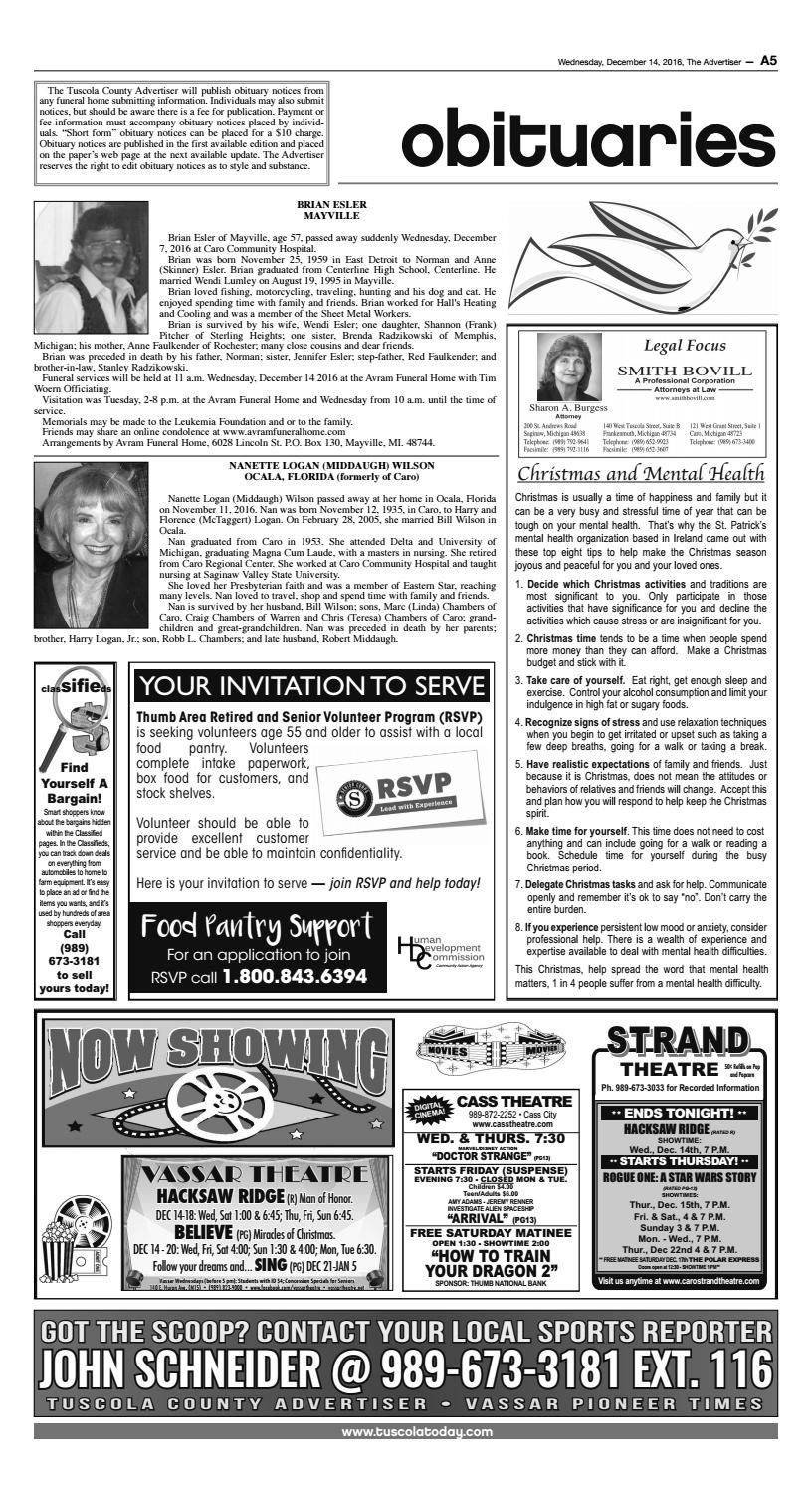 Tca 12 14 16 all pages by Tuscola County Advertiser - issuu