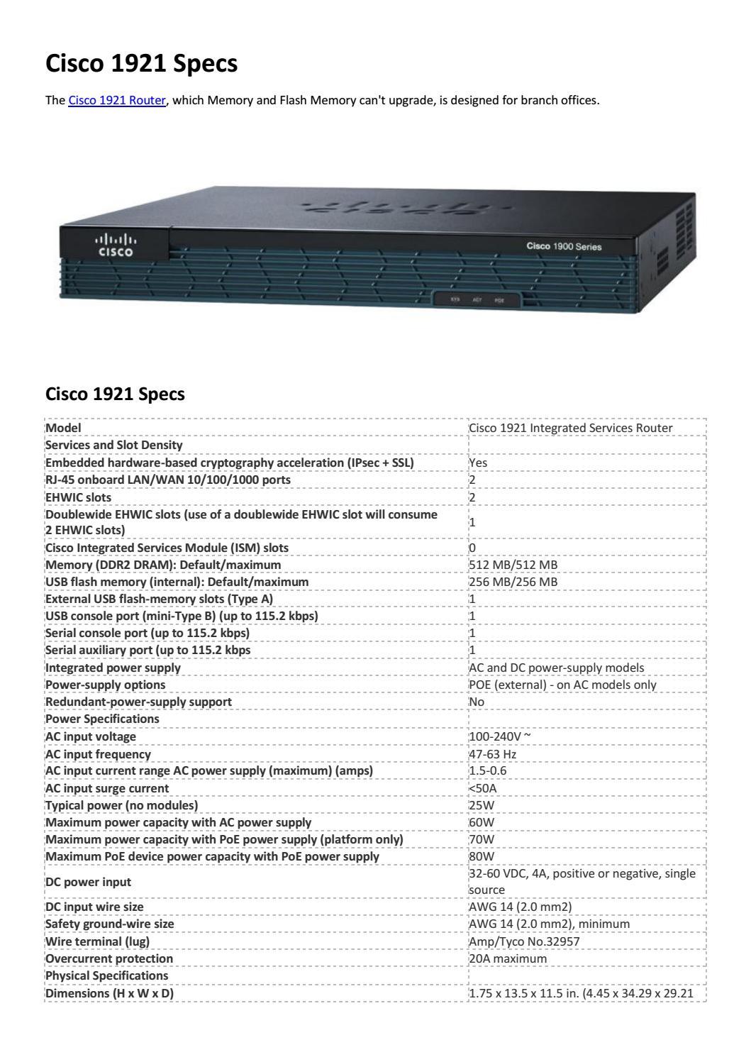 Cisco 1921 specs by Genevicost - issuu