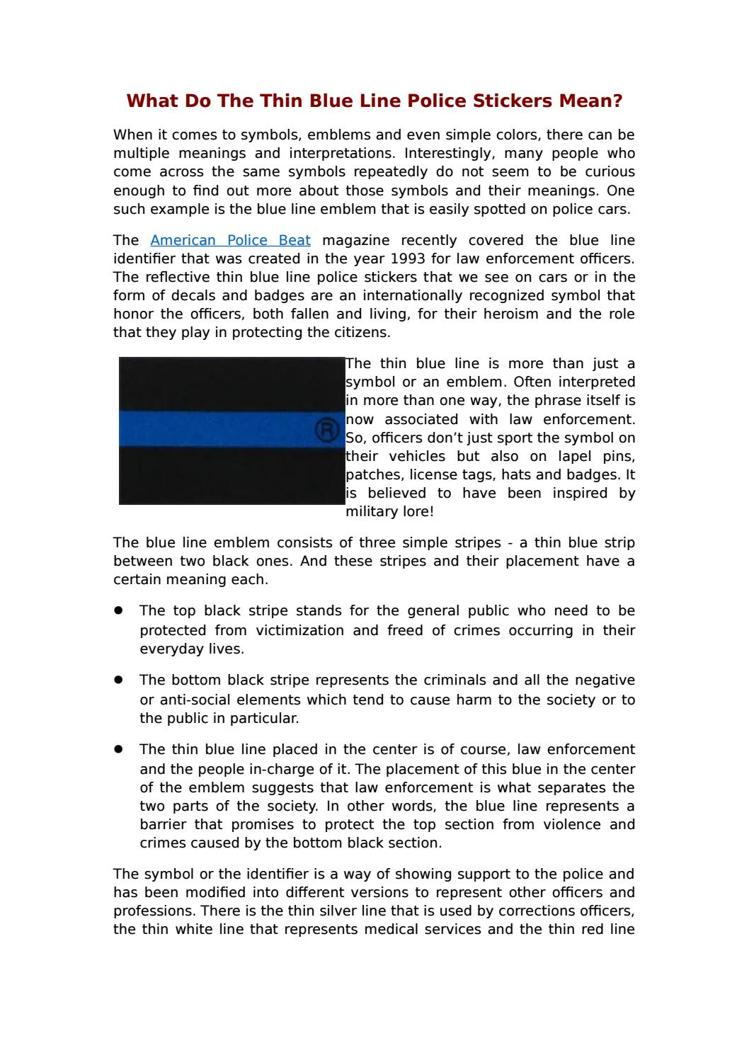 What do the thin blue line police stickers mean by peterabel issuu biocorpaavc Gallery