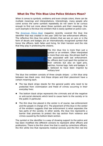 What Do The Thin Blue Line Police Stickers Mean By Peterabel Issuu