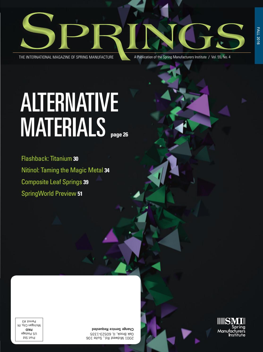 Springs fall 2016 vol 55 no4 by Spring Manufacturers