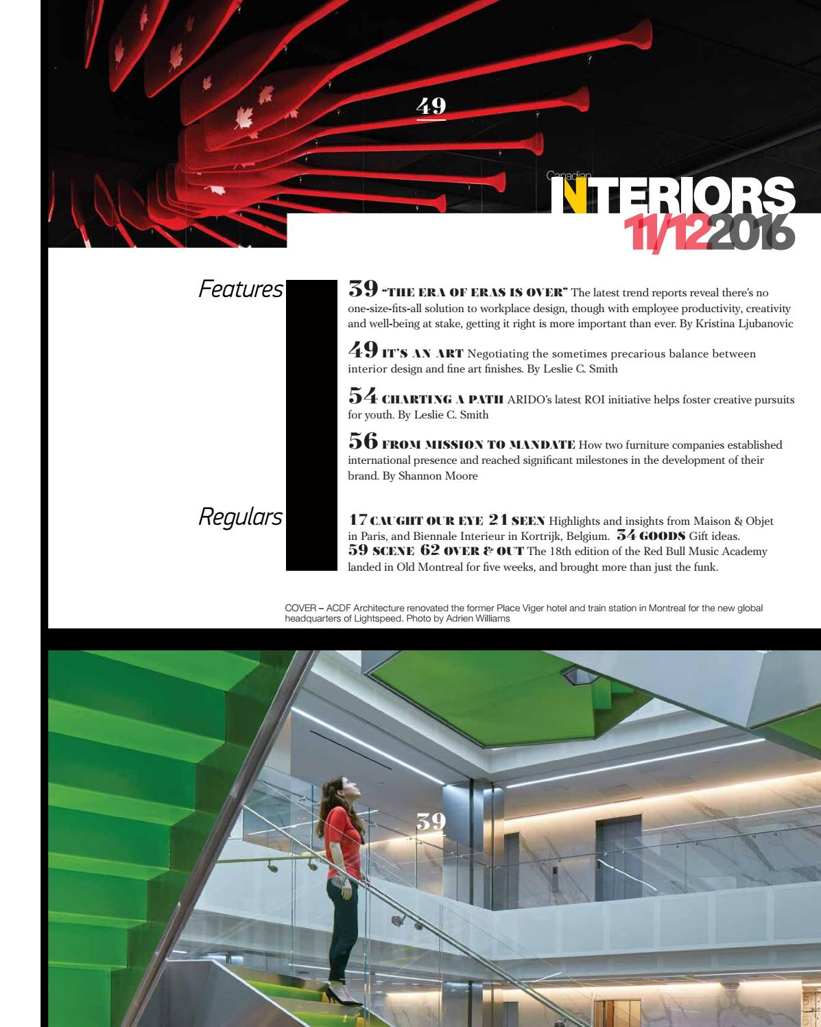 Canadian interiors November December 2016 by IQ Business Media - issuu