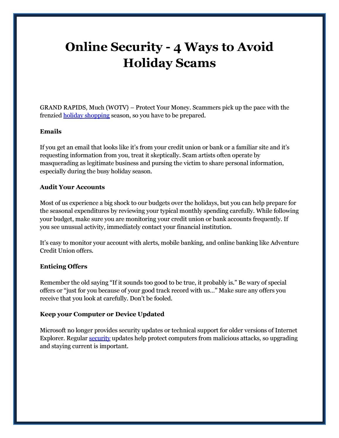 Online Security 4 Ways To Avoid Holiday Scams By Giselda Esposito
